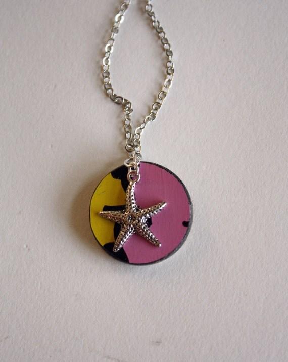 Recycled Skateboard  Mini Bling Dot Necklace-Summer Star Love