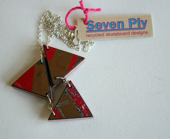 RESERVED FOR EVA Recycled Skateboard  Necklace-Three Triangle Cyclops Collection