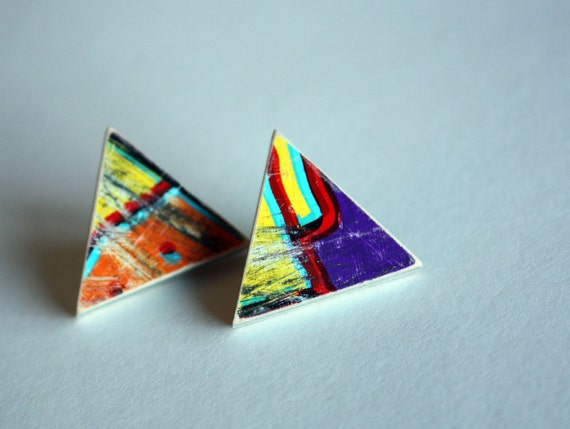 Recycled Skateboard Earring Triangle Studs-Loud and Proud