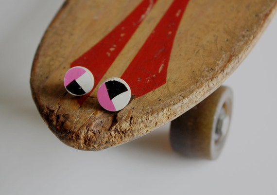 Recycled Skateboard Large Stud Earrings-Bright Pink