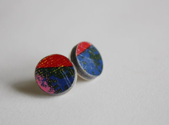 Recycled Skateboard Large Stud Earrings-Written on the Wall