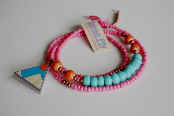 Recycled Skateboard  Necklace Triangle Cyclops Collection-Neon Pink and Aqua