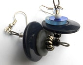 Button Earrings, Midnight Sky with Silver Plated Earwire