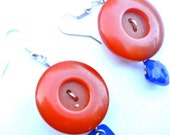 Bursting Orange and Blue Button Earrings