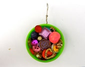 Lime and Pink Bottle Cap Full of Buttons Pendant