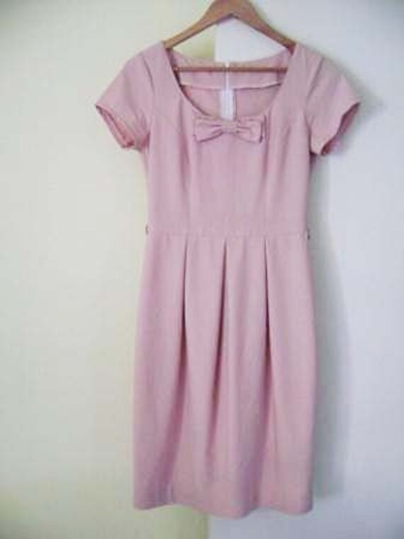 Vintage Rose Pink Bow Party Dress