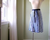 Cobalt and Plaid Upcycled Skirt