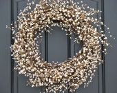Cream Berry Wreath - Spring Wreath - Year Round Door Decor - Shabby Chic Decor