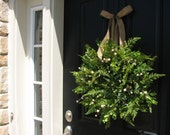 SPRING/SUMMER Wreaths, Spring Wreaths, Summer Wreaths, Spring Boxwood Fern and Burlap, Fern Wreaths, Etsy Wreaths, Artificial Fern Planters