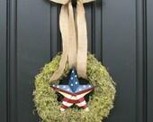 4th of July Decor - Moss Wreath - Patriotic Wreath  - Burlap Bow