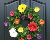 Summer Gardens Wreath - Indoor/Outdoor Wreath - Boxwood Wreaths - Front Door Decor