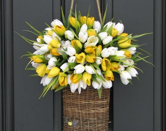 Spring Wreaths for Front Door, Tulips for Spring, Basket of Tulips, Yellow Tulips, White Tulips, Spring Tulips Wreath