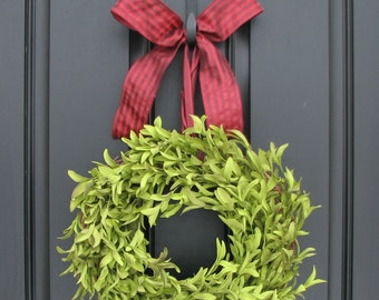 Boxwood Wreaths - Artificial Boxwood - Boxwood Decor - Year Round Outdoor Wreath