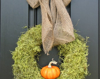 Moss Wreath, Pumpkin Wreath, Fall Wreath for Door, It's The GREAT Pumpkin Wreath with Burlap Bow, Pumpkin Decorations