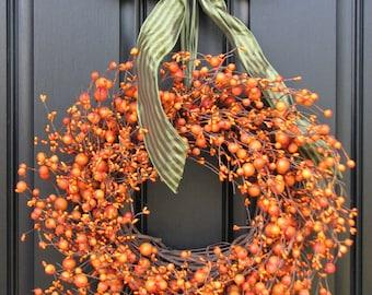 Fall Wreath -  The Pumpkin Wreath for Autumn Decor