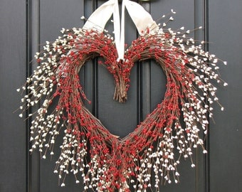 Heart Shaped Wreath - Valentine Wreath - Red and White Heart Wreath