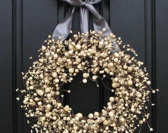 Year Round Wreaths - Silver and Champagne Berries Wreath for Your Wedding Celebration and More
