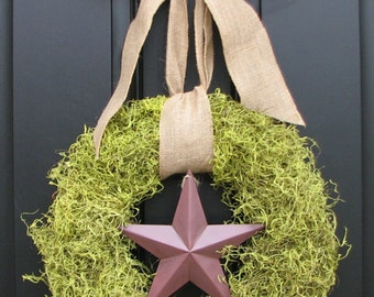 Summer Wreaths, Moss Wreath, Burlap Bows, The Lone Star, Door Wreaths, Patriotic Wreath, Memorial Day Wreath, 4th of July Wreath