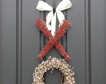 Valentine Wreath - XOXO Decor - Berry Wreath - Kisses and Hugs - XO - Holiday Wreath - Valentine's Day Decor
