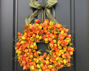 Tulip Wreath, Mother's Day, Tulips Wreath, Easter Tulips, Orange, Yellow Tulips, Spring Decorations, Spring Celebrations
