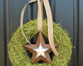 Patriotic Wreath - Moss Wreath - Burlap Bow - Moss Decor