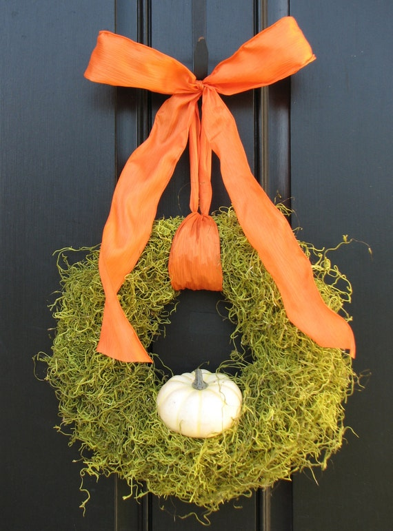 Fall Wreath - It's The GREAT White Pumpkin Wreath - Original Art - Autumn Decorations