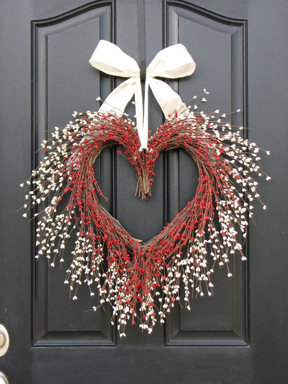 VALENTINE WREATH, Door Wreaths - You Have My Heart - Personalized Decor - Wedding Wreath - The Kissing Wreath