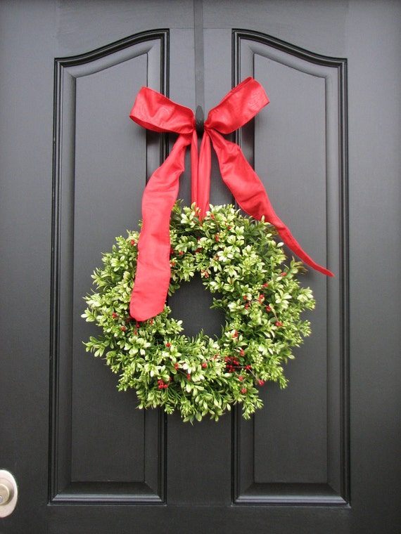 Items Similar To Boxwood Wreaths Christmas Decor Red
