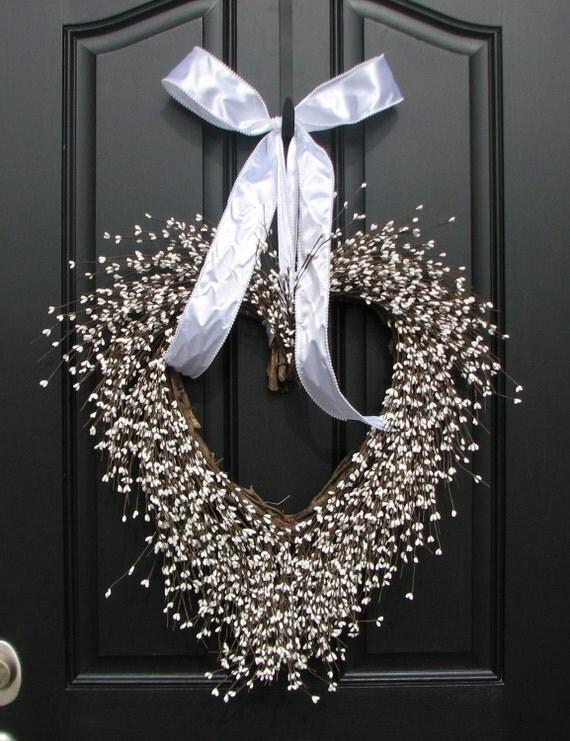 Wedding Decor - White Weddings - Reception Decorations - Church Doors - Front Door Wreaths - Berry Wreath
