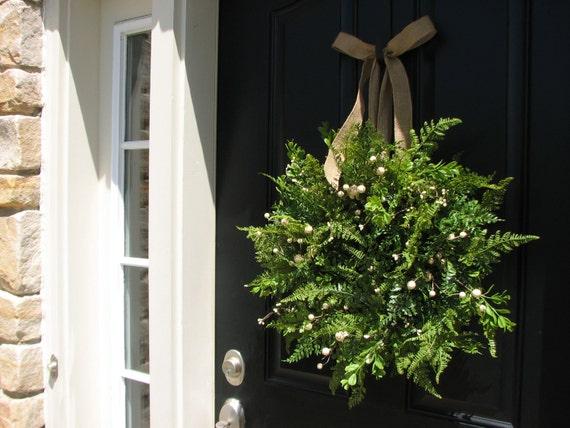 SPRING/SUMMER Wreaths, Summer Wreaths, Summer Boxwood Fern and Burlap, Fern Wreaths, Year Round Wreath, Etsy Wreath, Artificial Fern Wreath