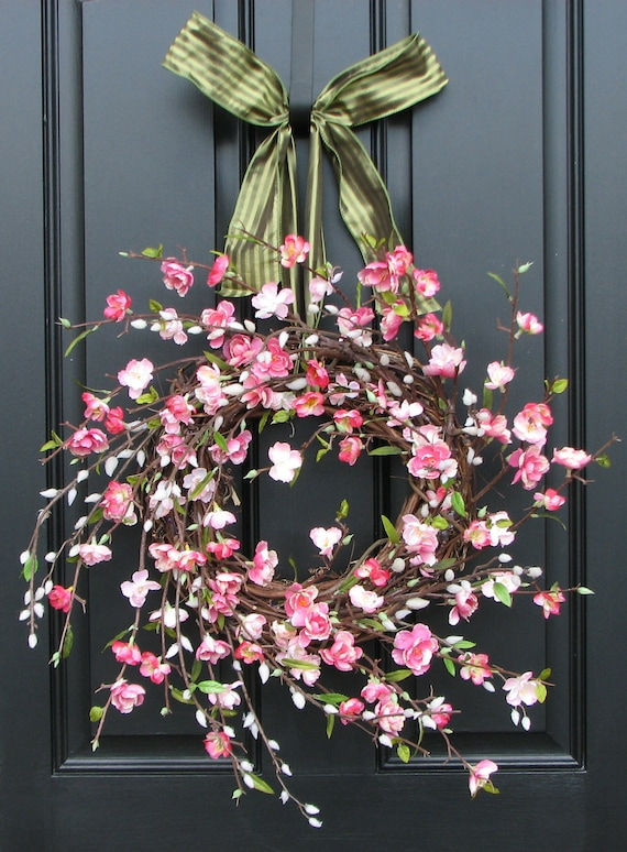 Cherry Blossoms Wreath Pink Cherry Blossoms By Twoinspireyou