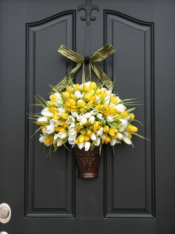 Spring Tulips Spring Wreath Yellow Tulips White Tulips
