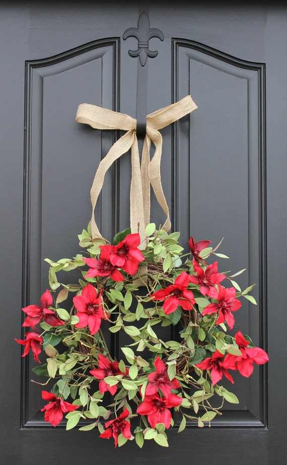 Red Clematis - Summer Wreath - Red Flowers - Burlap Ribbon