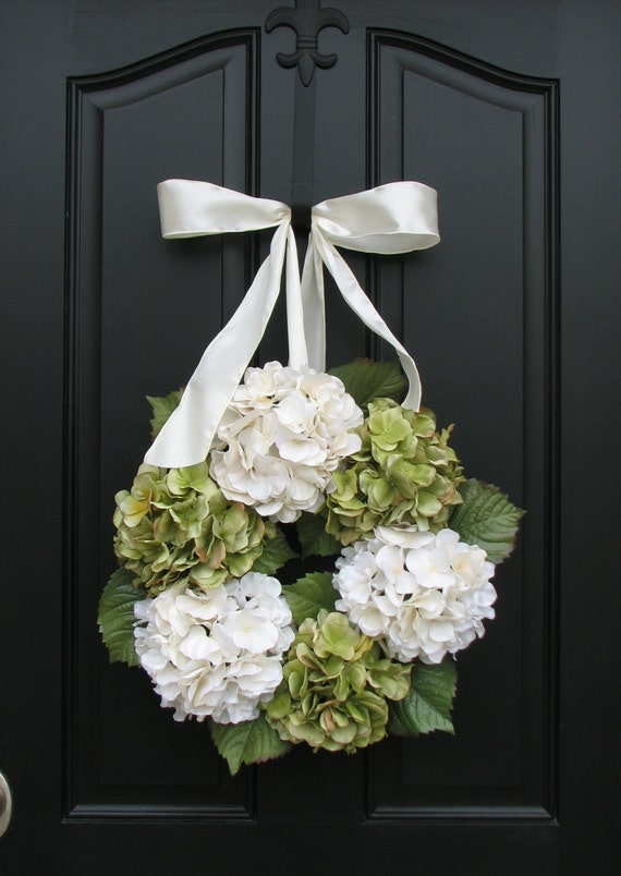 Reserved Listing - Wreaths - 8 Hydrangea Wreath - Hydrangea Blooms for Spring and Summer