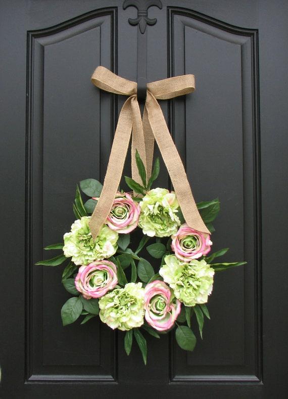 Princess Decor - Peonies - Roses - Unique Gift for Little Girl - Door Wreath