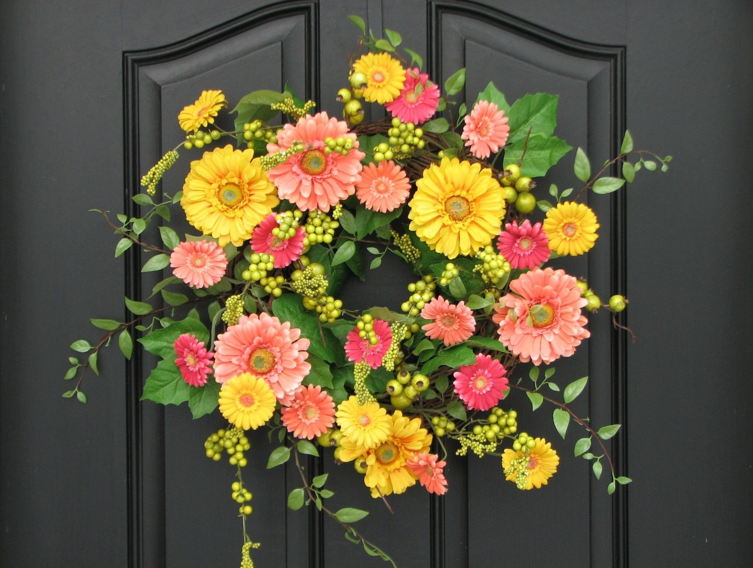 Wreaths Spring Wreath For Front Door Gerber Daisy Wreath