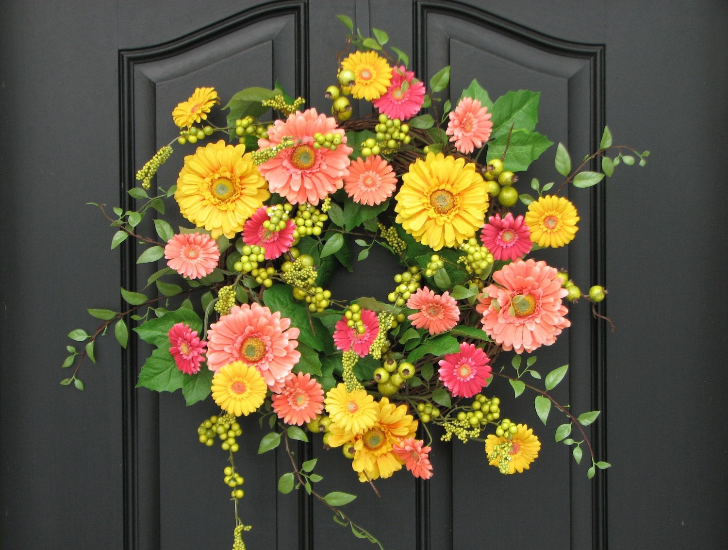 Wreaths spring wreath for front door gerber daisy wreath for Spring yard decorations