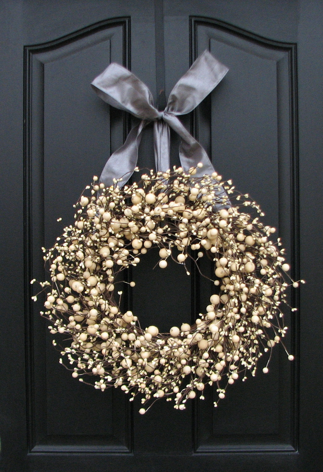 year round wreaths silver and champagne berries wreath for