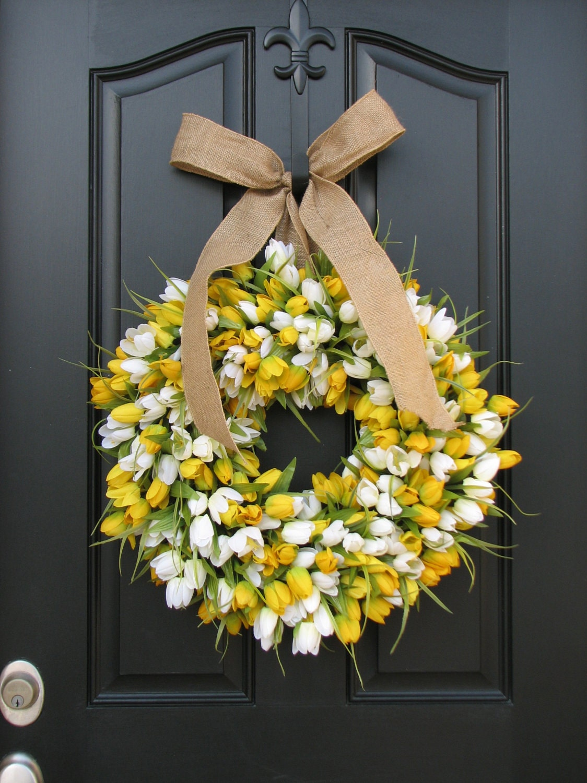 Easter Wreath: Tulips Front Door Wreath Door Wreaths Spring Tulips