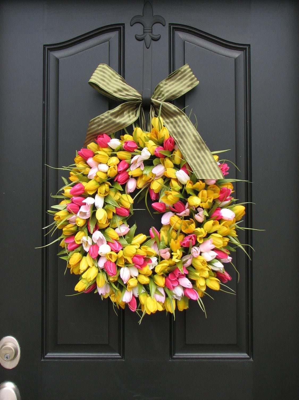 Spring Tulips Wreath Tulips Front Door Wreath