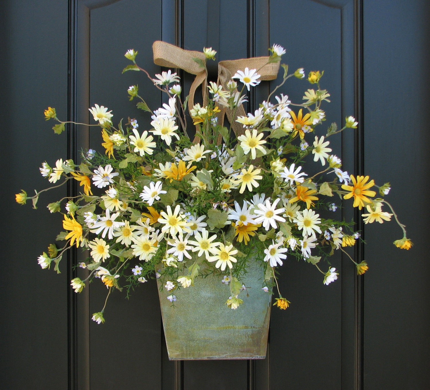 Country Cottage Decor Front Door Wreath Yellow By