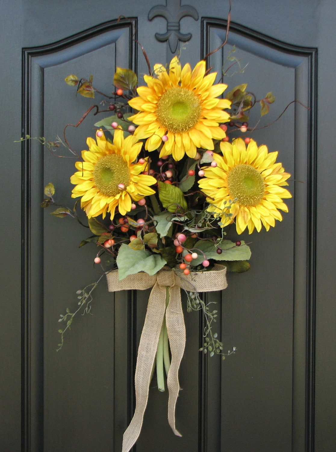 Sunflower bouquet front door decor summer wreath for Front door decor