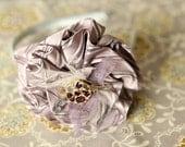 Plum Gorgeous hand made silk flower headband, rhinestone center