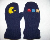 Pacman theme mittens Felted Wool recycled sweaters lined