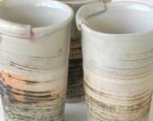 Hand Built Ceramic Juice Cup - Modern Rustic Scratch Pattern