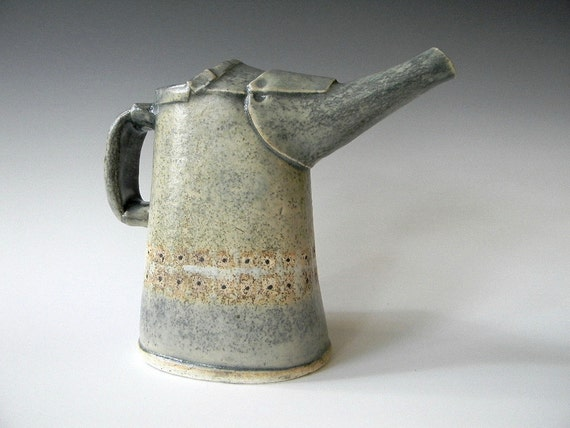 Small Hand Built Ceramic Pitcher- Industrial