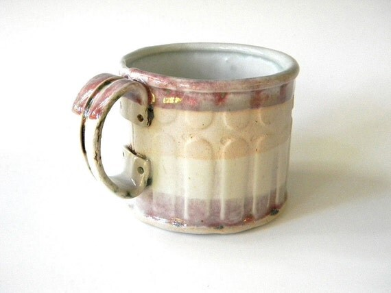Hand Built Ceramic Mug - Modern Rustic Soft Line Pattern