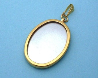 Gold Plated Oval Pendant Setting Frame Mounting 112G