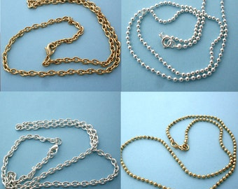 Any 5 Gold or Silver Ball or Cable Chain Necklace Special