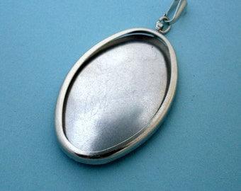 Silver Tone Oval Pendant Setting Frame Mounting, Silver Pendant Setting Frame, Pendant Mount, 145ST